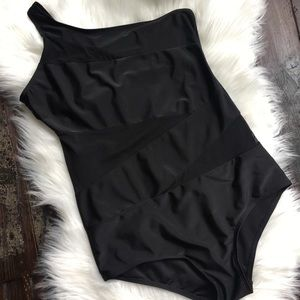 Mesh Cut Out One Strap One-Piece Black Swimsuit